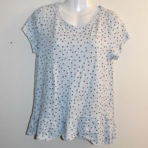Talbots Gray Polka Dot Peplum Top LP